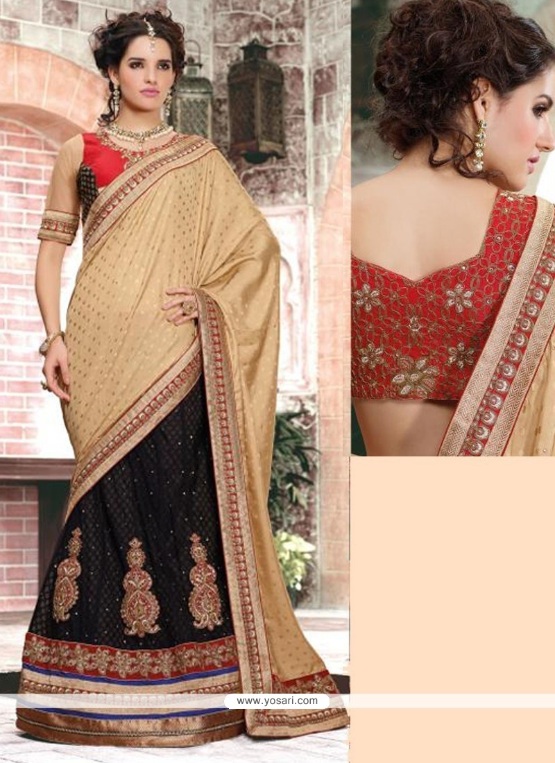 Cream And Black Net And Crepe Designer Lehenga Saree
