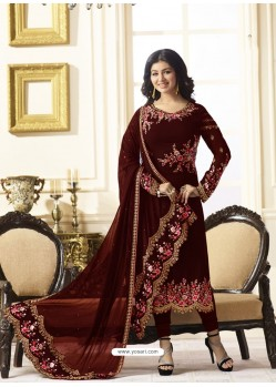 Eye Catching Maroon Embroidered Georgett Designer Churidar Suit