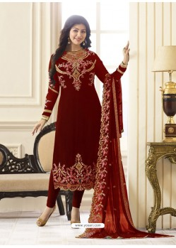 Phenomenal Red Embroidered Georgett Designer Churidar Suit