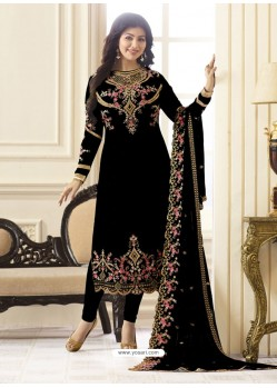 Astonishing Balck Embroidered Georgett Designer Churidar Suit