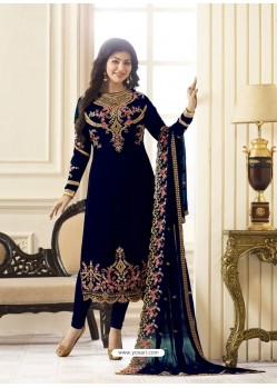 Charming Navy Blue Embroidered Georgett Designer Churidar Suit