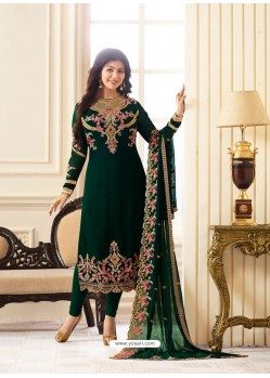 Desirable Dark Green Embroidered Georgett Designer Churidar Suit