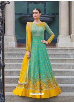 Stupendous Jade Green And Yellow Embroidered Net Designer Floor Length Anarkali Suit