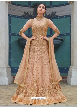 Wonderful Light Beige Embroidered Net Designer Floor Length Anarkali Suit