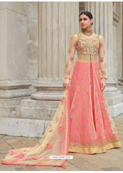 Extraordinary Peach Embroidered Net Designer Floor Length Anarkali Suit