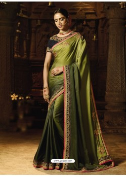 Mehendi Barfi Silk Thread Worked Designer Saree