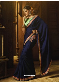 Navy Blue Cyona Silk Thread Worked Designer Saree
