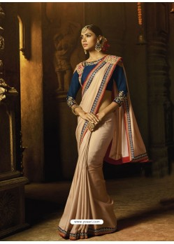 Light Beige Silk Thread Worked Designer Saree