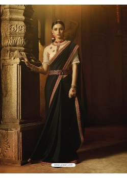 Black Silk Thread Worked Designer Saree