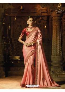 Peach Silk Thread Worked Designer Saree