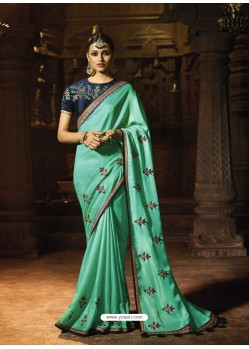 Aqua Mint Silk Thread Worked Designer Saree