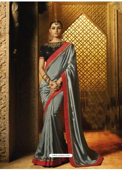 Grey Barfi Silk Thread Worked Designer Saree