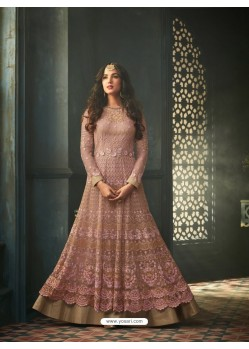 Dusty Pink Net Stone Worked Designer Embroidered Anarkali Suit