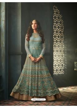 Aqua Mint Net Stone Worked Designer Embroidered Anarkali Suit