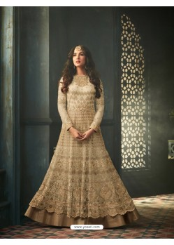 Beige Net Stone Worked Designer Embroidered Anarkali Suit