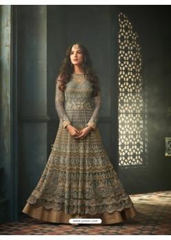 Olive Green Net Stone Worked Designer Embroidered Anarkali Suit