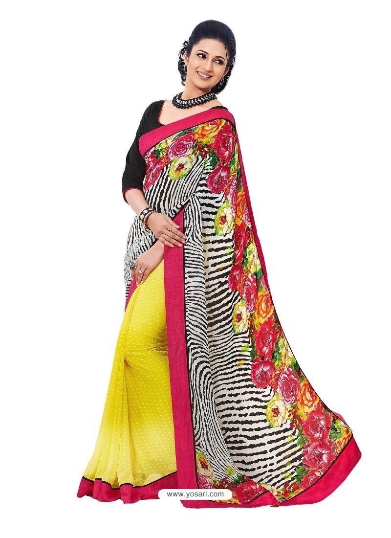 Tiger Printed Georgette Sari