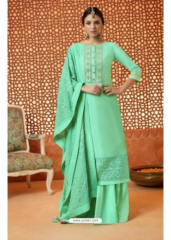 Jade Green Pure Silk Embroidered Designer Plazzo Suit