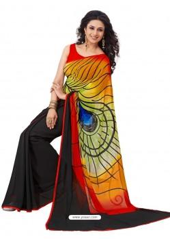 Peacock wing printed Georgette Multicolor Sari