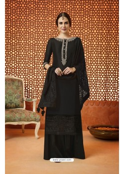 Black Pure Silk Embroidered Designer Plazzo Suit