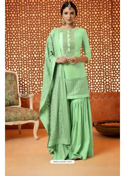 Sea Green Pure Silk Embroidered Designer Plazzo Suit