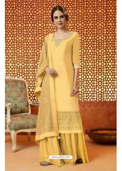 Yellow Pure Silk Embroidered Designer Plazzo Suit