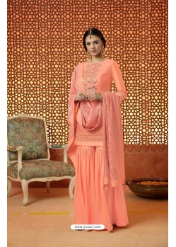 Orange Pure Silk Embroidered Designer Plazzo Suit