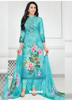Aqua Blue Pure Cotton Printed Designer Churidar Suit