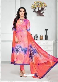 Orange And Blue Pure Cotton Printed Designer Churidar Suit