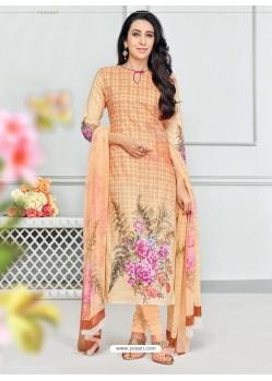 Cream Pure Cotton Printed Designer Churidar Suit