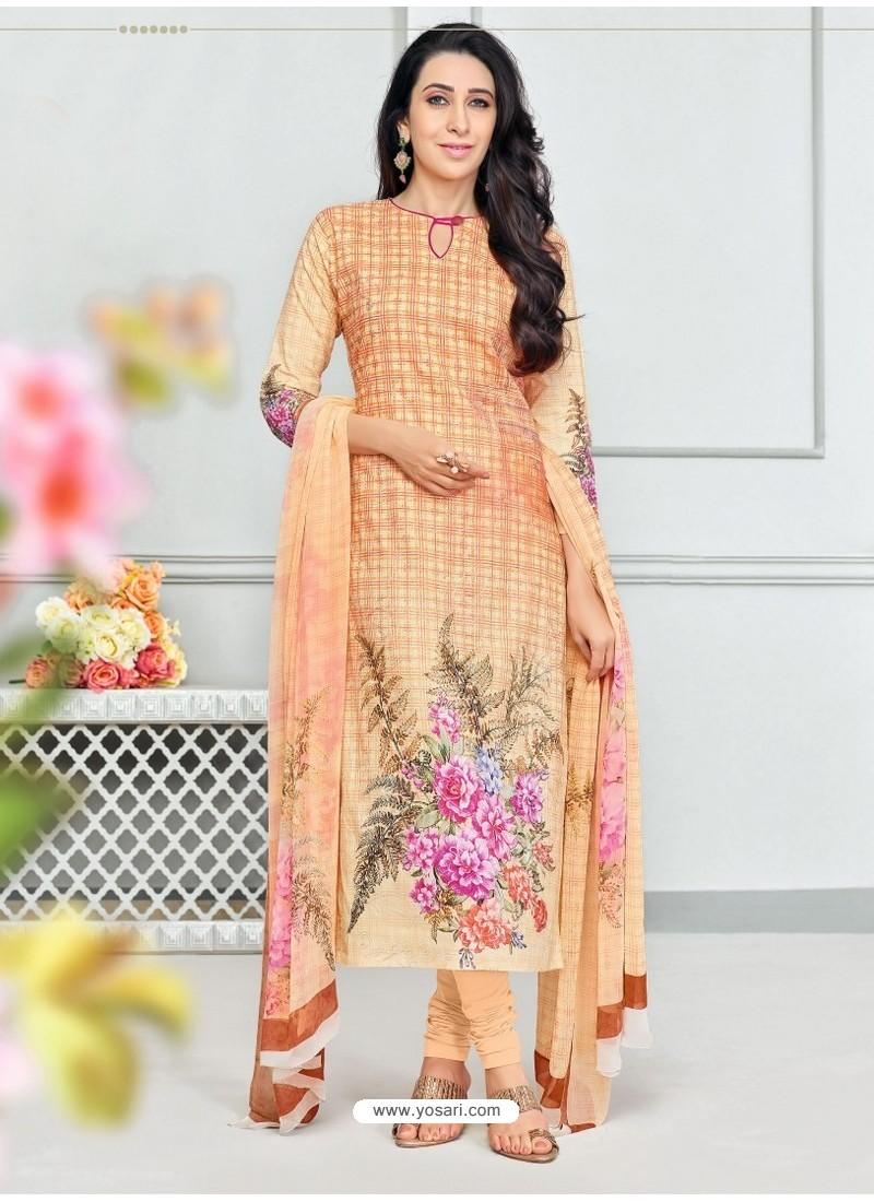 055a9fa58c Buy Cream Pure Cotton Printed Designer Churidar Suit | Churidar ...