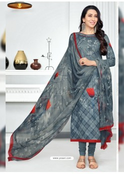 Dull Grey Pure Cotton Printed Designer Churidar Suit