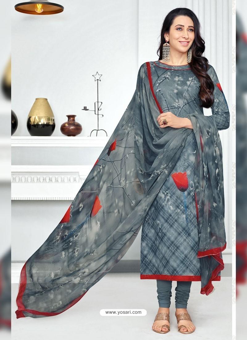c49c6693f4 Buy Dull Grey Pure Cotton Printed Designer Churidar Suit | Churidar ...