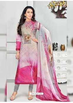 Fuchsia Pure Cotton Printed Designer Churidar Suit
