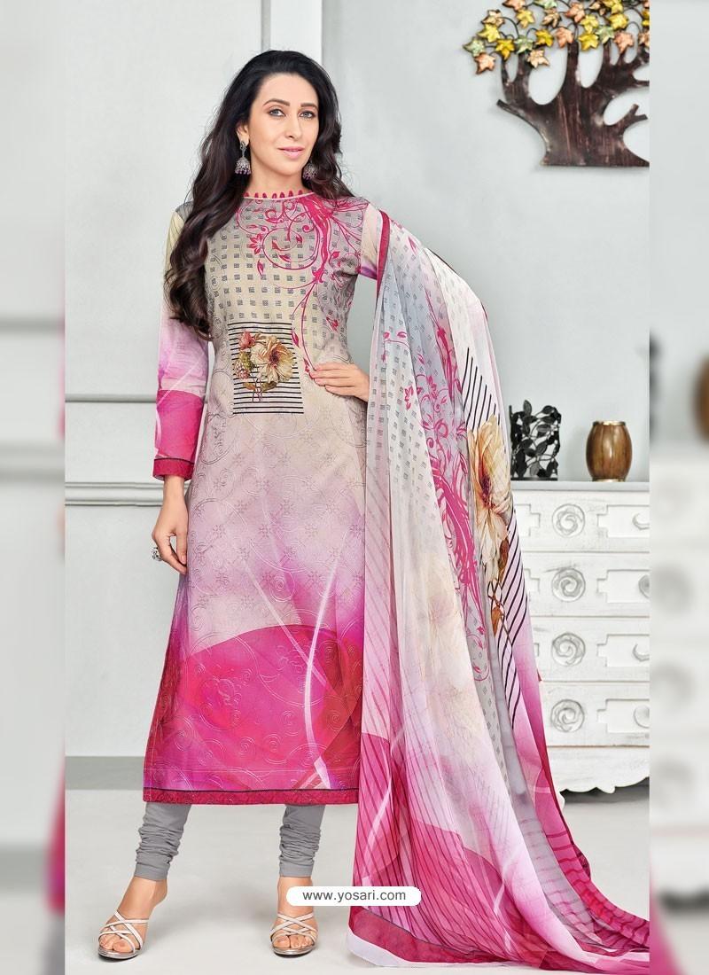 af15085b8a Buy Fuchsia Pure Cotton Printed Designer Churidar Suit | Churidar ...