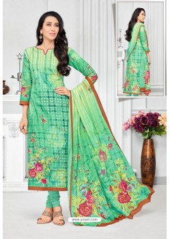Green Pure Cotton Printed Designer Churidar Suit