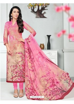 Light Pink Pure Cotton Printed Designer Churidar Suit