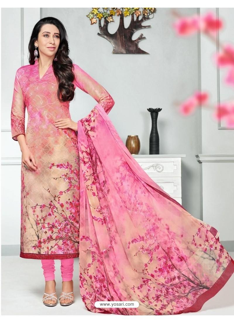 12e7a5f11b Buy Light Pink Pure Cotton Printed Designer Churidar Suit | Churidar ...