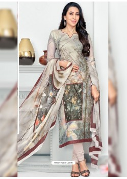 Light Brown Pure Cotton Printed Designer Churidar Suit