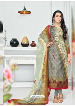Grey Pure Cotton Printed Designer Churidar Suit