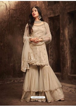 Heavenly Beige Net Embroidered Designer Plazzo Suit