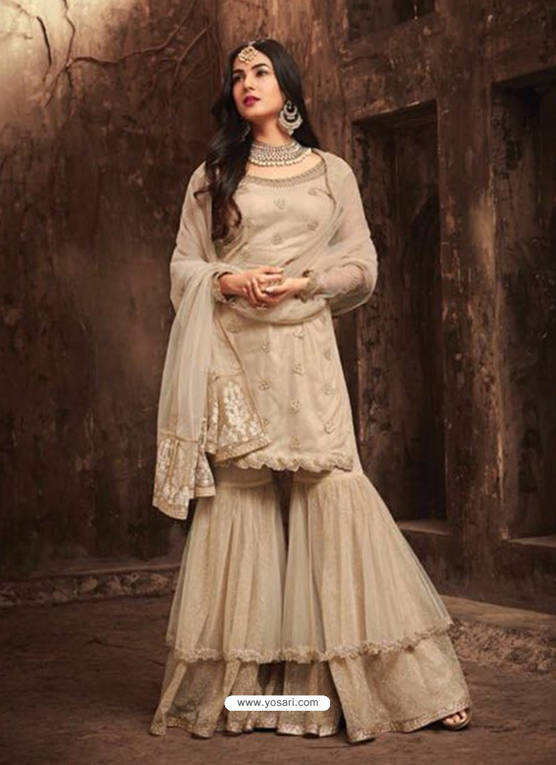 68d5cd2bfe Buy Heavenly Beige Net Embroidered Designer Plazzo Suit | Palazzo ...