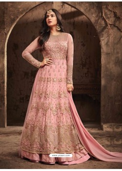 Elegant Light Pink Net Embroidered Designer Floor Length Anarkali Suit