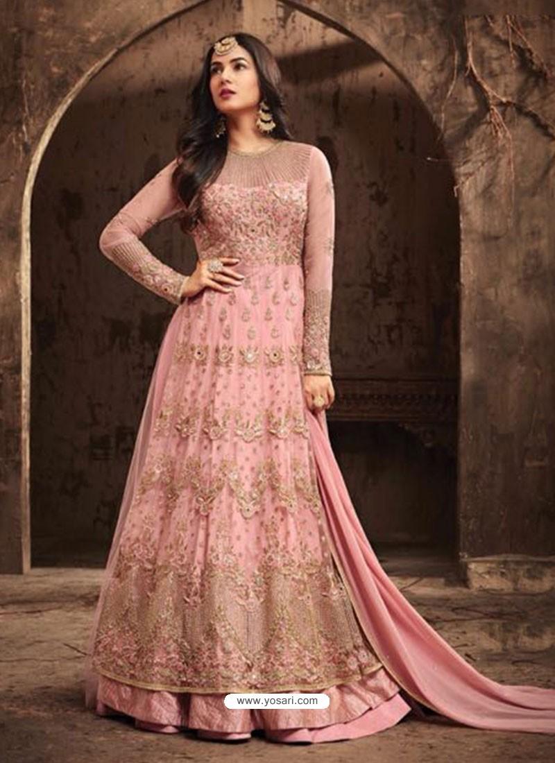 2386483f45 Elegant Light Pink Net Embroidered Designer Floor Length Anarkali Suit