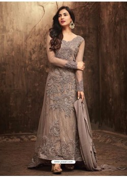 Enhanting Grey Net Embroidered Designer Floor Length Anarkali Suit