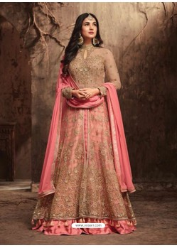 Ravishing Peach Net Embroidered Designer Floor Length Anarkali Suit