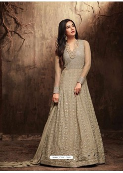 Latest Taupe Net Embroidered Designer Floor Length Anarkali Suit