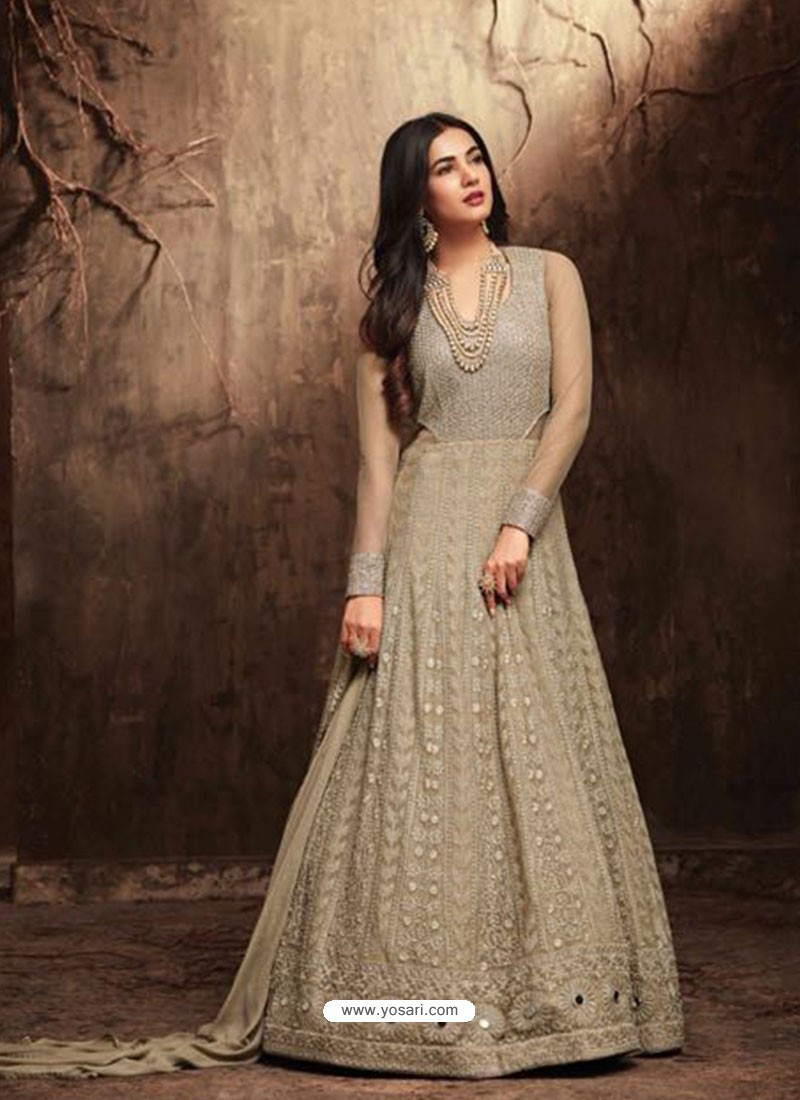 305cceaa51 Buy Latest Taupe Net Embroidered Designer Floor Length Anarkali Suit ...