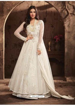 Dazzling White Net Embroidered Designer Floor Length Anarkali Suit