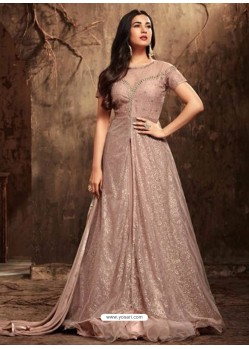 Lustrous Dusty Pink Net Embroidered Designer Floor Length Anarkali Suit